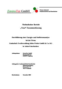 Bild der Titelseite der Publikation: Kurzbericht: Durchführung einer Energie- und Stoffstromanalyse bei der Firma Lindenfarb Textilveredlung Julius Probst GmbH & Co. KG in Aalen-Unterkochen (Pilotbetrieb)