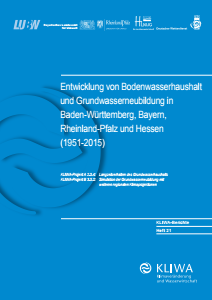 Bild der Titelseite der Publikation: Entwicklung von Bodenwasserhaushalt und Grundwasserneubildung in Baden-Württemberg, Bayern, Rheinland-Pfalz und Hessen (1951-2015)
