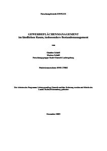 Bild der Titelseite der Publikation: Gewerbeflächenmanagement im Ländlichen Raum, insbesondere Bestandsmanagement