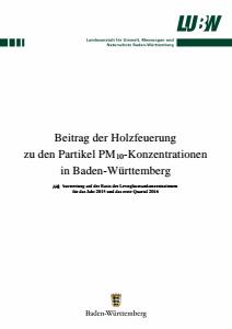 Bild der Titelseite der Publikation: Beitrag der Holzfeuerung zu den Partikel PM10-Konzentrationen in Baden-Württemberg