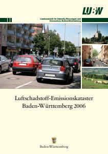 Bild der Titelseite der Publikation: Luftschadstoff-Emissionskataster Baden-Württemberg 2006