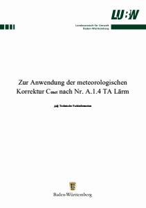 Bild der Titelseite der Publikation: Zur Anwendung der meteorologischen Korrektur Cmet nach Nr. A.1.4 TA Lärm