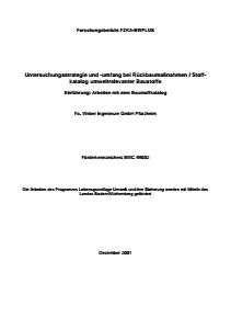 Bild der Titelseite der Publikation: Untersuchungsstrategie und -umfang bei Rückbaumaßnahmen / Stoffkatalog umweltrelevanter Baustoffe - Teil 1