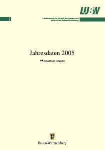 Bild der Titelseite der Publikation: Kenngrößen der Luftqualität. Jahresdaten 2005