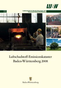 Bild der Titelseite der Publikation: Luftschadstoff-Emissionskataster Baden-Württemberg 2008