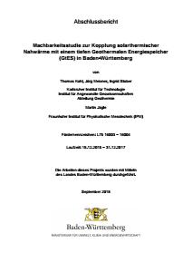 Bild der Titelseite der Publikation: Machbarkeitsstudie zur Kopplung solarthermischer Nahwärme mit einem tiefen Geothermalen Energiespeicher (GtES) in Baden-Württemberg