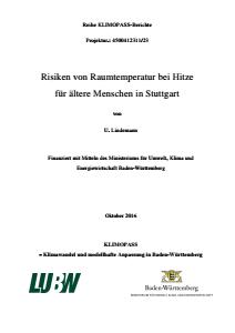Bild der Titelseite der Publikation: Risiken von Raumtemperatur bei Hitze für ältere Menschen in Stuttgart