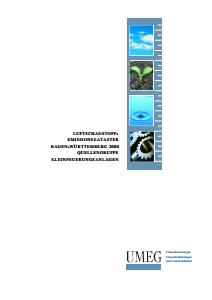 Bild der Titelseite der Publikation: Luftschadstoff-Emissionskataster Baden-Württemberg 2000. Quellengruppe Kleinfeuerungsanlagen