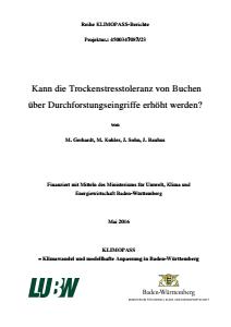 Bild der Titelseite der Publikation: Kann Trockenstresstoleranz von Buchen über Durchforstungseingriffe erhöht werden?
