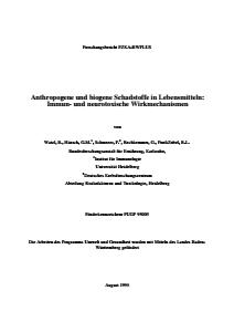 Bild der Titelseite der Publikation: Anthropogene und biogene Schadstoffe in Lebensmitteln: Immun- und neurotoxische Wirkmechanismen