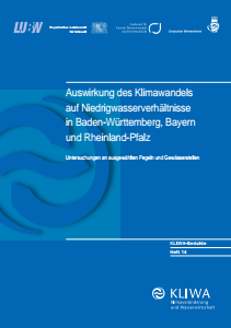 Bild der Titelseite der Publikation: Auswirkung des Klimawandels auf Niedrigwasserverhältnisse in Baden-Württemberg, Bayern und Rheinland-Pfalz