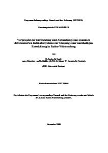 Bild der Titelseite der Publikation: Vorprojekt zur Entwicklung und Anwendung eines räumlich differenzierten Indikatorsystems zur Messung einer nachhaltigen Entwicklung in Baden-Württemberg