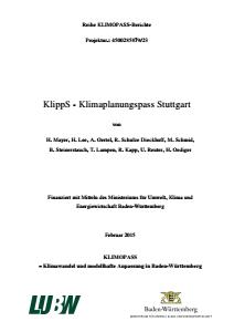 Bild der Titelseite der Publikation: KlippS - Klimaplanungspass Stuttgart