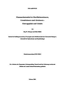 Bild der Titelseite der Publikation: Flammschutzmittel in Oberflächenwässern, Grundwässern und Abwässern - Eintragspfade und Gehalte