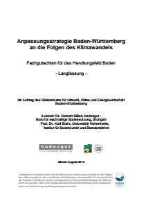 Bild der Titelseite der Publikation: Anpassungsstrategie an den Klimawandel - Fachgutachten für das Handlungsfeld Boden