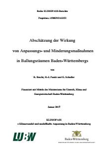 Bild der Titelseite der Publikation: Abschätzung der Wirkung von Anpassungs- und Minderungsmaßnahmen in Ballungsräumen Baden-Württembergs