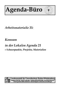 Bild der Titelseite der Publikation: Arbeitsmaterialie 035: Konsum in der Lokalen Agenda 21