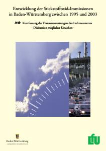 Bild der Titelseite der Publikation: Entwicklung der Stickstoffoxid-Immissionen in Baden-Württemberg zwischen 1995 und 2003