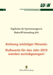 Bild der Titelseite der Publikation: Ergebnisse der Spotmessungen in Baden-Württemberg 2013