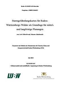 Bild der Titelseite der Publikation: Sturmgefährdungskarten für Baden-Württembergs Wälder als Grundlage für mittel- und langfristige Planungen