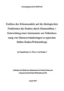 Bild der Titelseite der Publikation: Einfluss des Klimawandels auf die ökologischen Funktionen des Bodens durch Humusabbau