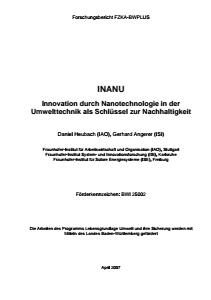 Bild der Titelseite der Publikation: INANU - Innovation durch Nanotechnologie in der Umwelttechnik als Schlüssel zur Nachhaltigkeit