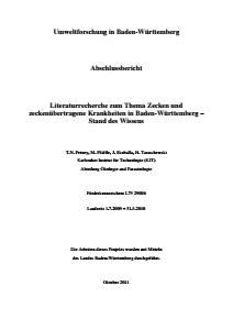 Bild der Titelseite der Publikation: Literaturrecherche zum Thema Zecken und Zeckenübertragene Krankheiten in Baden-Württemberg - Stand des Wissens