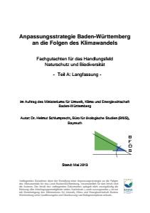 Bild der Titelseite der Publikation: Anpassungsstrategie an den Klimawandel - Fachgutachten für das Handlungsfeld Naturschutz