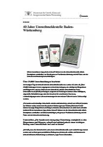 Bild der Titelseite der Publikation: 40 Jahre Umweltmeldestelle Baden-Württemberg