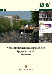 Bild der Titelseite der Publikation: Verkehrsstärken an ausgewählten Spotmessstellen. Auswertungen 2011