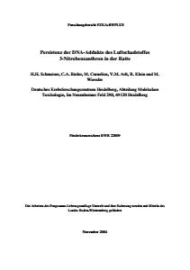 Bild der Titelseite der Publikation: Persistenz der DNA-Addukte des Luftschadstoffes 3-Nitrobenzanthron in der Ratte