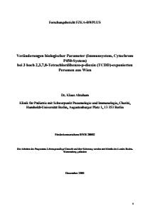 Bild der Titelseite der Publikation: Veränderungen biologischer Parameter (Immunsystem, Cytochrom P450-System) bei 3 hoch 2,3,7,8-Tetrachlordibenzo-p-dioxin (TCDD)-exponierten Personen aus Wien