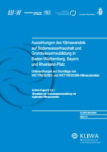 Bild der Titelseite der Publikation: Auswirkungen des Klimawandels auf Bodenwasserhaushalt und Grundwasserneubildung in Baden-Württemberg, Bayern und Rheinland-Pfalz