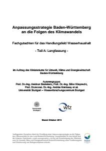 Bild der Titelseite der Publikation: Anpassungsstrategie an den Klimawandel - Fachgutachten für das Handlungsfeld Wasserhaushalt