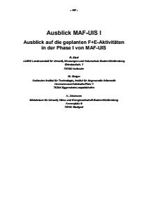 Bild der Titelseite der Publikation: Ausblick MAF-UIS I - Ausblick auf die geplanten F+E-Aktivitäten in der Phase I von MAF-UIS