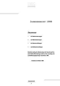 Bild der Titelseite der Publikation: Jahresbericht 1999 der UMEG - Gesellschaft für Umweltmessungen und Umwelterhebungen mbh