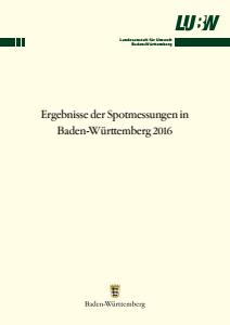 Bild der Titelseite der Publikation: Ergebnisse der Spotmessungen in Baden-Württemberg 2016