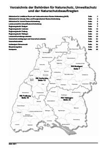 Verzeichnis der Behörden für Naturschutz, Umweltschutz und der Naturschutzbeauftragten