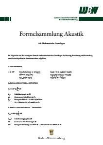 Formelsammlung Akustik