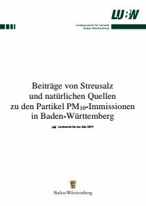 Beiträge von Streusalz und natürlichen Quellen zu den Partikel PM10-Immissionen in Baden-Württemberg